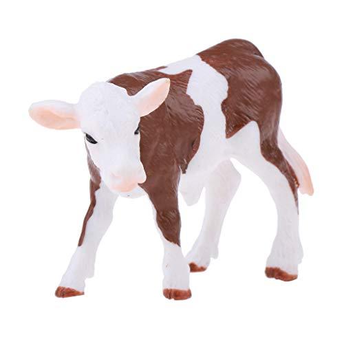 SM SunniMix Figuras de Ganado de Juguete de Animales Realistas - para Niños Colección de Juguetes Educativos de Ciencia Y Naturaleza para El Hogar - 8 Estilos Par - Becerro Macular