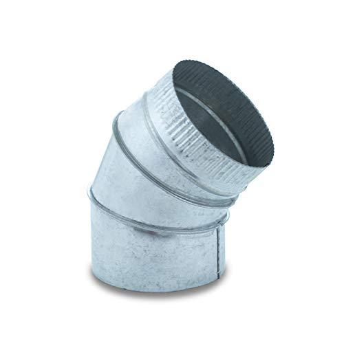 Codo de sectores de 45º acero galvanizado para sistemas de ventilación y extracción, chimeneas y estufas de leña y pellet, autoconectable. (130 mm)