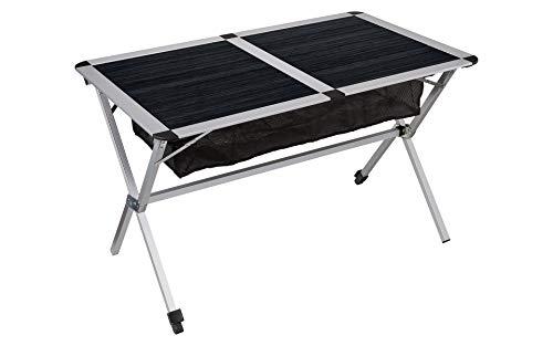 BERGER Camping Klapptisch, Aluminium, anthrazit, Tischplatte rollbar, Tischfläche 115 x 78,5 cm