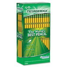 Ticonderoga Pencil,w/ Eraser,No.2 Med.Soft, 72 Ct.,YW, Sold as 1 Box, 72 Each per Box by Dixon Ticonderoga Company