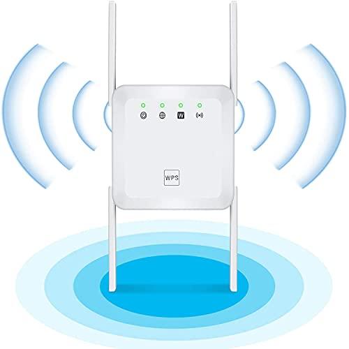 DOOK Repetidor WiFi, 1200Mbps Amplificador WiFi 2.4G/5G WiFi Extender Amplificador Señal WiFi Extensor de WiFi con 4 Antena WiFi Largo Alcance Modo Repetidor/Ap/Enrutador para Casa Oficina Hotel