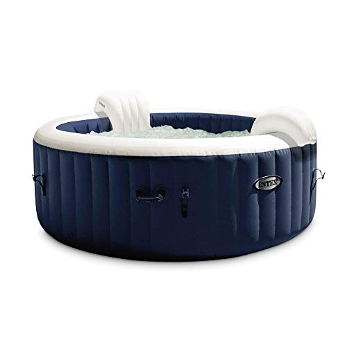 Intex PureSpa Plus 4 Person Portable Inflatable Hot Tub Bubble Jet Spa Kit, Navy