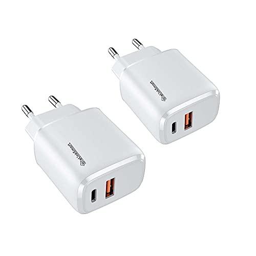 eLinkSmart 2 Pack 20W USB Tipo C Cargador de teléfono Carga rápida PD/QC 3.0 Cargadores de Pared para teléfono 12 Pro MAX/Mini 11 SE 2020 X XR XS 8, Pad, Tablet, ultrabooks, Android
