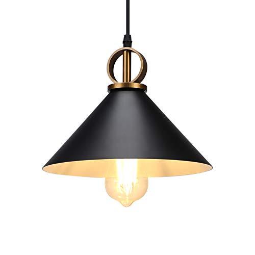 Lightsjoy Lampada a Sospensione Vintage - Lampadario Industriale Retrò Edison Lampadine E27 Lampade da Interni Soggiorno Lampadario Nera Cucina Paralume in Metallo Per Ristorante