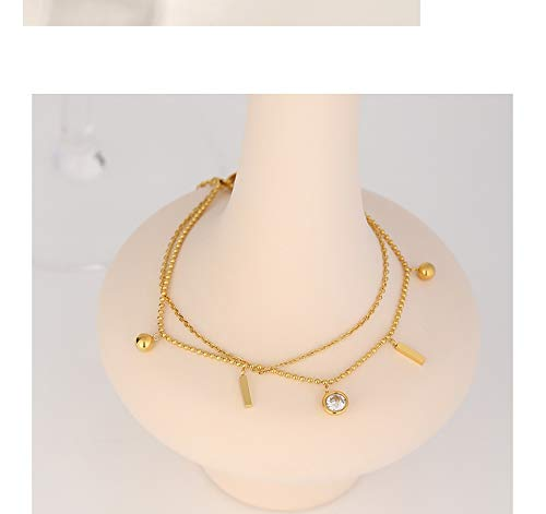 N/A Bracelet jewelry Exquisite Multi-layer Stainless Steel Bangle Bracelet for Women Cubic Zirconia Bracelet Jewelry Gold Metal Anklet Valentine's Day present