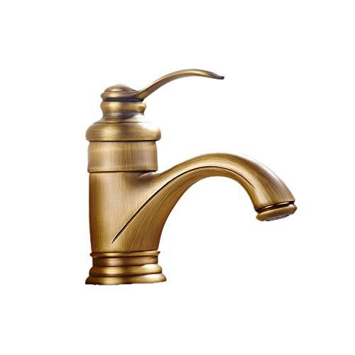 WJJS Antico bacino europeo rubinetto americano spazzolato Bronzo fredda e rubinetto caldo tutto il rame bacino rubinetto di lavabo bagno lavabo Rubinetti d'ottone antico Scelga la teiera leva Lavare R