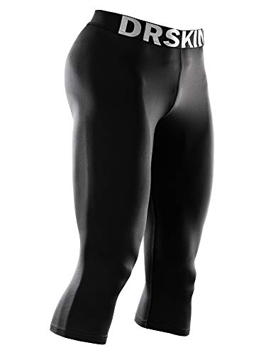 DRSKIN Men's 3/4 Compression Tight Pants Base Under Layer Running Shorts Warm Cool Dry (Classic B801, L)