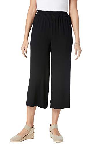 Woman Within Women's Plus Size Pull-On Elastic Waist Soft Capris Pants - 14 W, Black