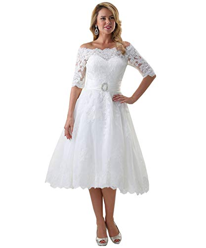 Women's Elegant Off The Shoulder Tea Length Lace A-line Wedding Dress with Short Sleeves White US22W