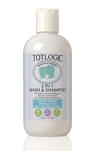 TotLogic Kids Natural 2 in 1 Body Wash and Shampoo, 8 oz | Plant Based Formula Gentle and Hypoallergenic for Sensitive Skin | Infused with Essential Oils