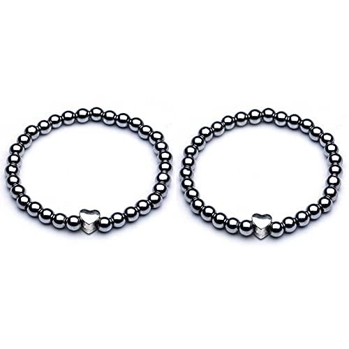 BESTT 2 Stück Magnetische Armband - Unisex Hämatit Therapie Stein Runde Perlen Stretch Armreif für Gewichtsverlust Abnehmen Anti-Müdigkeit Schmuck