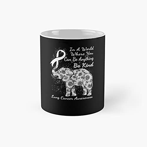 Lung Cancer Awareness Sunflower Elephant Be Kind Classi - A Novelty Ceramic Cups Inspirational Holiday Gifts For Morther's Day, Men & Women, Him Or Her, Mom, Dad, Sister, Brother, Coworkers, Bestie.