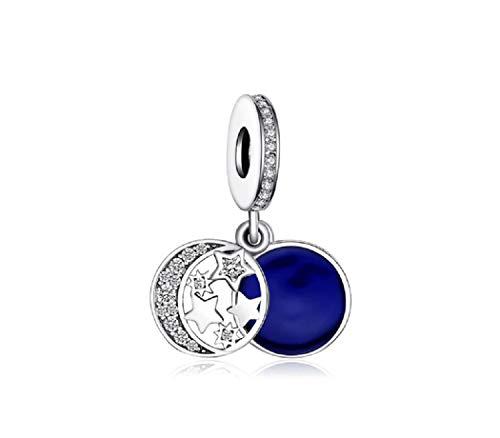 FeatherWish - Abalorio de plata de ley 925 con diseño de luna y estrellas, disco de noche azul con circonita cúbica para pulsera Pandora