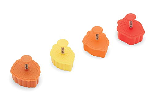 "Fox Run Harvest Autumn Leaves 2"" Pastry/Cookie/Pie/Fondant Stampers and Cutters, 4-Piece Set, Multicolor"