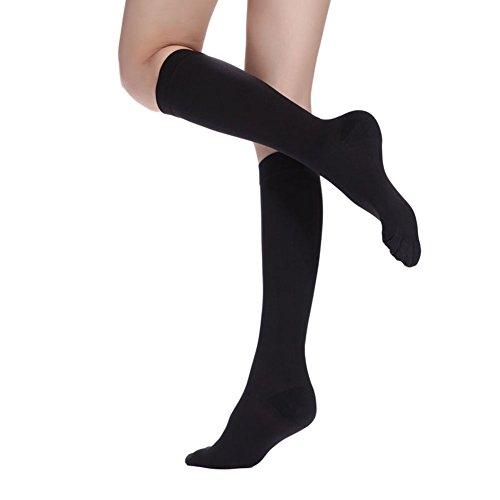 Super Victor Kompressionsstrümpfe Damen Medizinisch für Flugreisen Flug Stützstrümpfe Damen Herren Sport Reisestrümpfe Kniestrümpfe Sock Strümpfe Schwarz L(7-11)