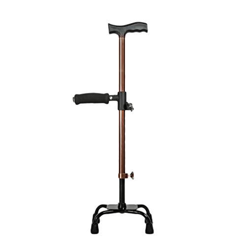 MOGO 4 benen krukken 10 in hoogte verstelbare Quad Riet Lichtgewicht Ouderen wandelstok met dubbele T handvat gemakkelijk zitten stok en Ergonomie Grip ingebouwde stalen pijler