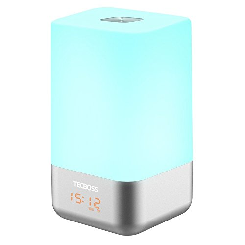 Tecboss Wake Up Light LED Bedside Lamp Alarm Clock W Sunrise Simulation, 5 Natural Sounds, Touch Control Color Change Dimmable LED Night Light