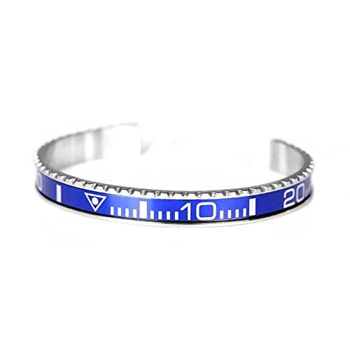 Outlet srls Pulsera cronógrafo Submariner para Hombre en Acero esmaltado con Colores Diferente y Corona Rolex Similar (Azul)