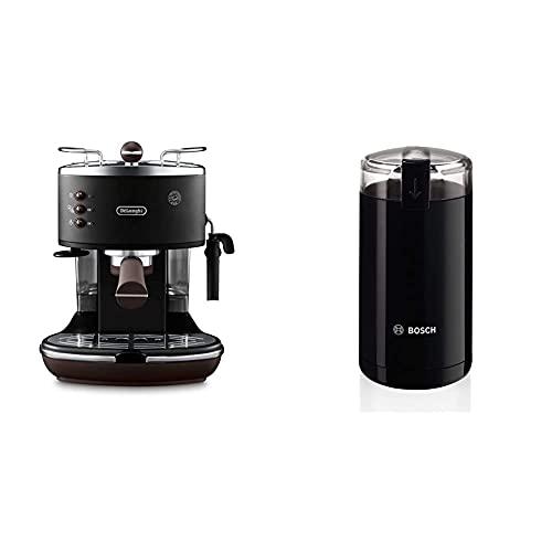 De'Longhi Icona Vintage Espresso Siebträgermaschine KBOV2001.BK - mit professioneller Milchaufschäumdüse, 15 bar, 1,4 l, schwarz & Bosch TSM6A013B Kaffeemühle, Schwarz