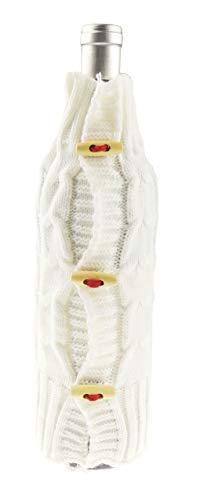 Glamour Girlz feestelijke leuke kabel brei grote knop Jumper wijn kerstfles cover geschenktas