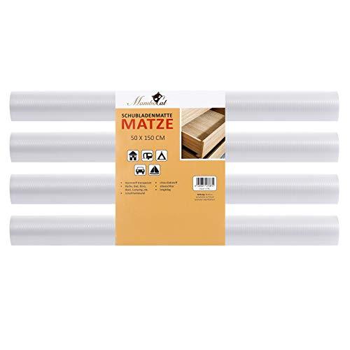 MamboCat Schubladenmatte Matze 4 teiliges Set | perfekt für 12 Standard Schubladen | 150 x 50 cm | transparente Antirutschmatte - individuell zuschneidbar