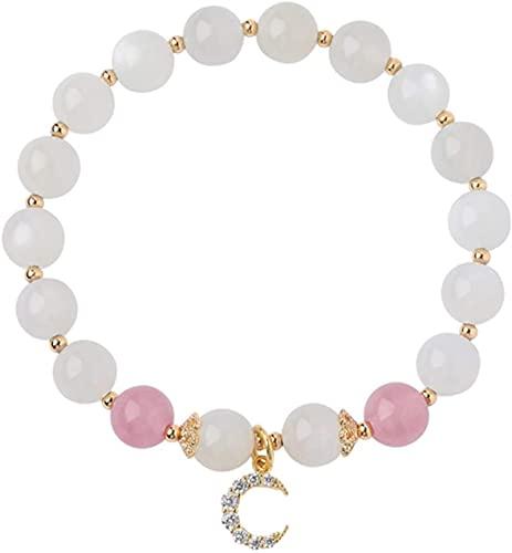 Feng Shui Perle Armband Feng Shui Armband Natürliche weiße Mondstein Erdbeere Kristallmond Diamant Armreif Glück Glück Glück Pfirsichblüte Wohlhabendes Amulett Armband Für Frauen Amulett-Perl-Armband