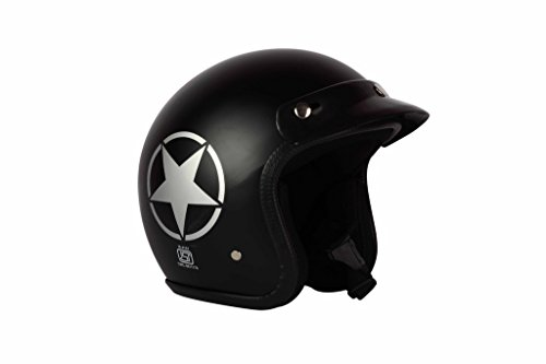 O2 Riderswear Open Face Star Helmet,(Black,M)