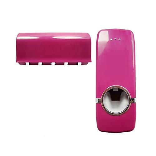 Cuarto de baño Accesorios de baño Set Automático Pasta de dientes Exprimidor + Soporte de cepillo de dientes Soporte de pasta de dientes Montaje de pared Rack Herramientas de baño Set Para almacenamie