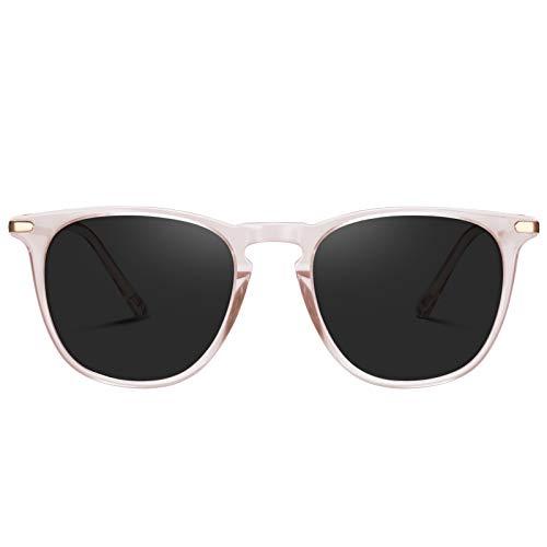 TSEBAN Vintage Damen Sonnenbrille Polarisierte Frauen Brille, Acetat-Rahmen & UV 400 Schutz,Transparent; Linse: Grau,Einheitsgröße