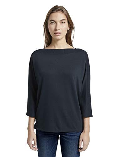 TOM TAILOR Damen T-Shirts/Tops T-Shirt mit U-Boot-Ausschnitt Sky Captain Blue,L,10668,6000