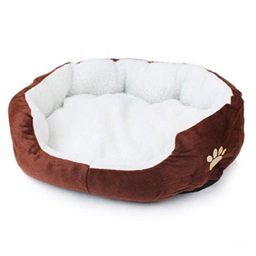 Round Pet Bed Faux Fur Donut Cat and Dog Cushion Bed Plush Soft Warm/Washable Premium Dog and Cat Bed - Coffee (50 x 40 x 14cm)