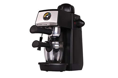 Grunkel - CAFPRESO-H5 Bar - Cafetera Espresso con barómetro y presión de 5 Bares para 4 Tazas (240 ml). Incluye Jarra de Cristal y Sistema espumador - 870W - Negro y Acero Inoxidable