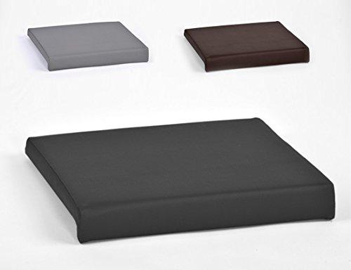 animal-design Klemmkissen für Sitzbank Sitz-Kissen 1 Leiste Kunstleder ca. B 40 cm x T 35 cm / 38 cm x H 6 cm in grau, schwarz oder braun, Farbe:schwarz
