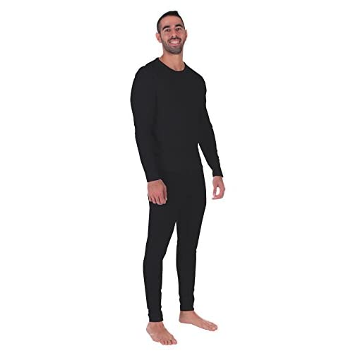 Men Thermal Performance Underwear Set; Base Layer; Midweight Soft Fleece; Warm Long Sleeve Vest and Long Johns Bottoms