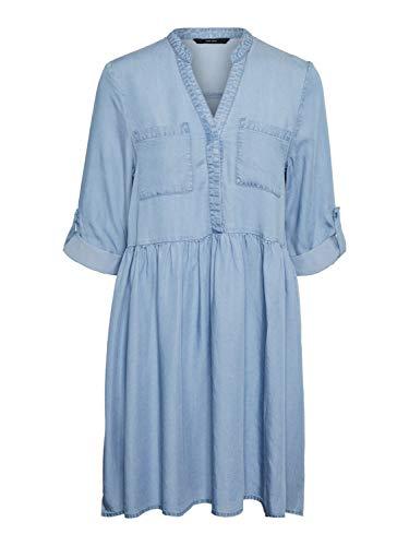 VERO MODA Damen VMLIBBIE 3/4 Loose Tunic GA Color Tunica Kleid, Light Blue Denim, S