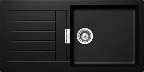 SCHOCK hochwertige Küchenspüle 100 x 50 cm Signus D-100L Magma - CRISTADUR schwarze Granitspüle mit Abtropffläche ab 60 cm Unterschrank-Breite