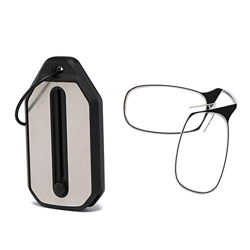 WYBF Mini Lesebrille Tasche Faltbare Clip Nase Schlüsselanhänger Schwarzer Rahmen für Leser,+250