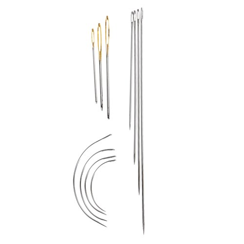 Colcolo 11 Pieces Curved Pads Large Eye Hand Sewing Needles for