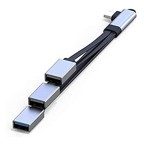 WOVELOT Concentrador USB C, Adaptador OTG de Cable Tipo C con 3 Puertos USB, Cable de ExtensióN PortáTil USB C para Computadoras MóViles, Codo