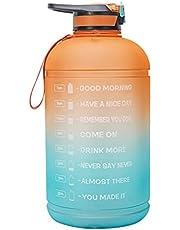 Xyhbava Gradient 1 gallon Motivational Water Bottle 3.78L Sports Jug Kettle met Time Marker, Grote Waterfles