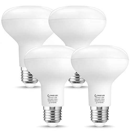 LOHAS E27 LED Reflektor, Warmweiß 3000K, 10W, R80 LED Lampe, Ersetzt 100W Glühbirne/Halogenlmape, Glühlampe E27, Leuchtmittel, Reflektorlampe, 1000LM, Nicht Dimmbar, 220-240V AC/DC, 4er Pack