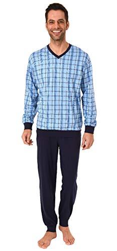 Herren Pyjama Schlafanzug Langarm mit Bündchen Karo Optik - auch in Übergrössen bis Gr. 70, Größe2:48, Farbe:blau