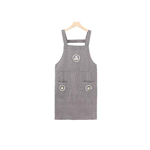 Dongxiao Delantal suave para mujer con 2 bolsillos delanteros, babero, delantal de cocina, delantal de cocina, perfecto para manualidades, delantal de barbacoa, cómodo (color: D)