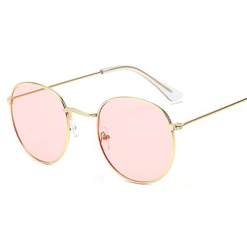 WWWL Gafas de Sol Classic Pequeño Marco Redondo Gafas de Sol Mujeres/Hombres Diseñador de la Marca Espejo de aleación Gafas de Sol Vintage Eyeglass (Lenses Color : Beige)
