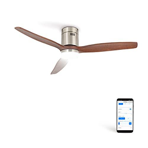 CREATE IKOHS WINDCALM DC STYLANCE NICKEL - Ventilador de Techo Wifi, con Mando a Distancia, 3 Aspas, Potencia de 40W, Ultrasilencioso, 132 cm de Diametro, 6 Velocidades (con luz - Madera oscura)
