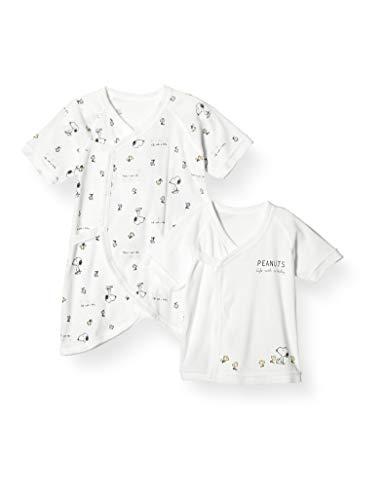 [ピーナッツ] スヌーピー 新生児短肌着コンビ肌着 2枚組 ピーナッツ 新生児 キッズ ホワイト 日本 フリー (FREE サイズ)