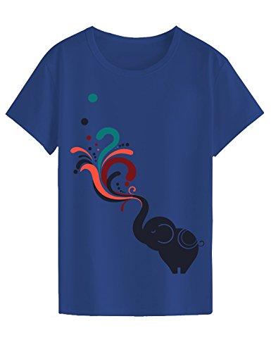 """Neo Garments Women's Cotton T Shirt - Elephant (Indigo-Blue) (M (Chest:34"""",Length:25.5"""",Shoulder:15""""))"""