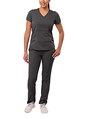 Adar Pro Core Classic Scrub Set for Women - Tailored V-Neck Scrub Top & Tailored Yoga Scrub Pants - P9100 - Pewter - S