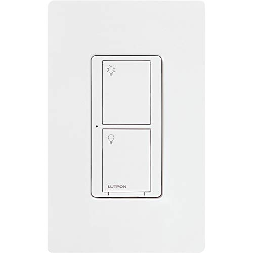 Lutron Caseta Smart Home Switch with Wallplate, Works with Alexa, Apple HomeKit, and Google Assistant   5-Amp, for Ceiling and Exhaust Fans, LED Bulbs, Incandescent and Halogen   PDW-5ANS-WH-A   White