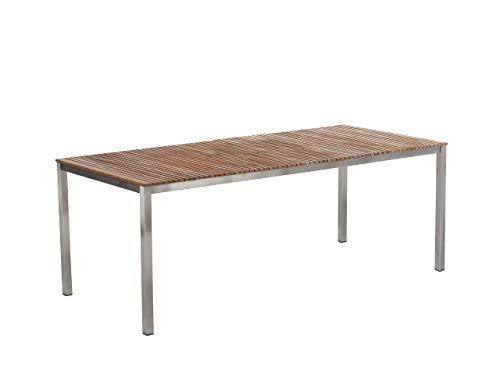 Beliani Klassischer Gartentisch für 8 Personen 200 x 90 cm Teakholz Viareggio
